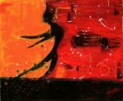 "Dancer in Reverse, 2009 Mixed Media 16""x24"""
