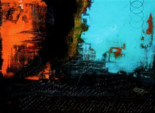 "Rough Language, 2009 Mixed Media 36""x48"""