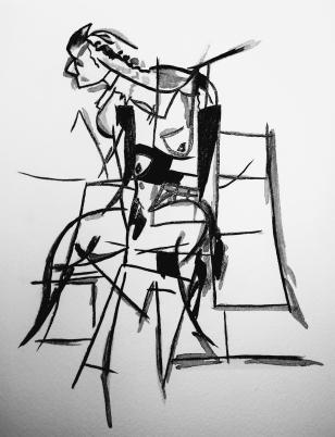 "Lady Lady, 2015 Ink on Paper 8""x10"""