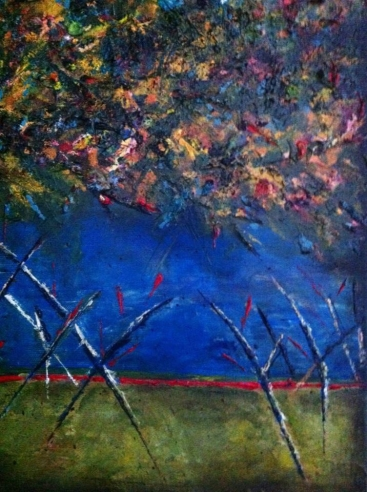 """Jam Forest, 2012 Mixed Media 24""""x36"""" Partial Image"""